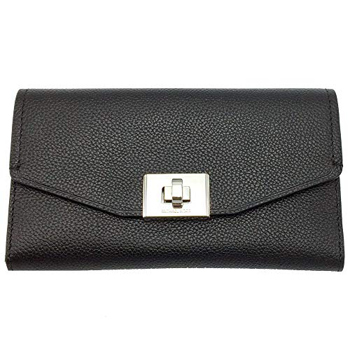 Michael Kors Cassie Large Trifold Wallet (Black/Silver)