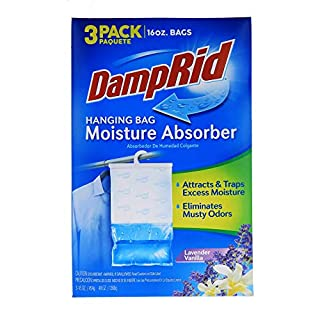 DampRid Lavender Vanilla Hanging Bag Moisture Absorber for Closets - Odor Eliminator - 3 pack (16oz. ea.); Traps Excess Moisture for Fresher, Cleaner Air