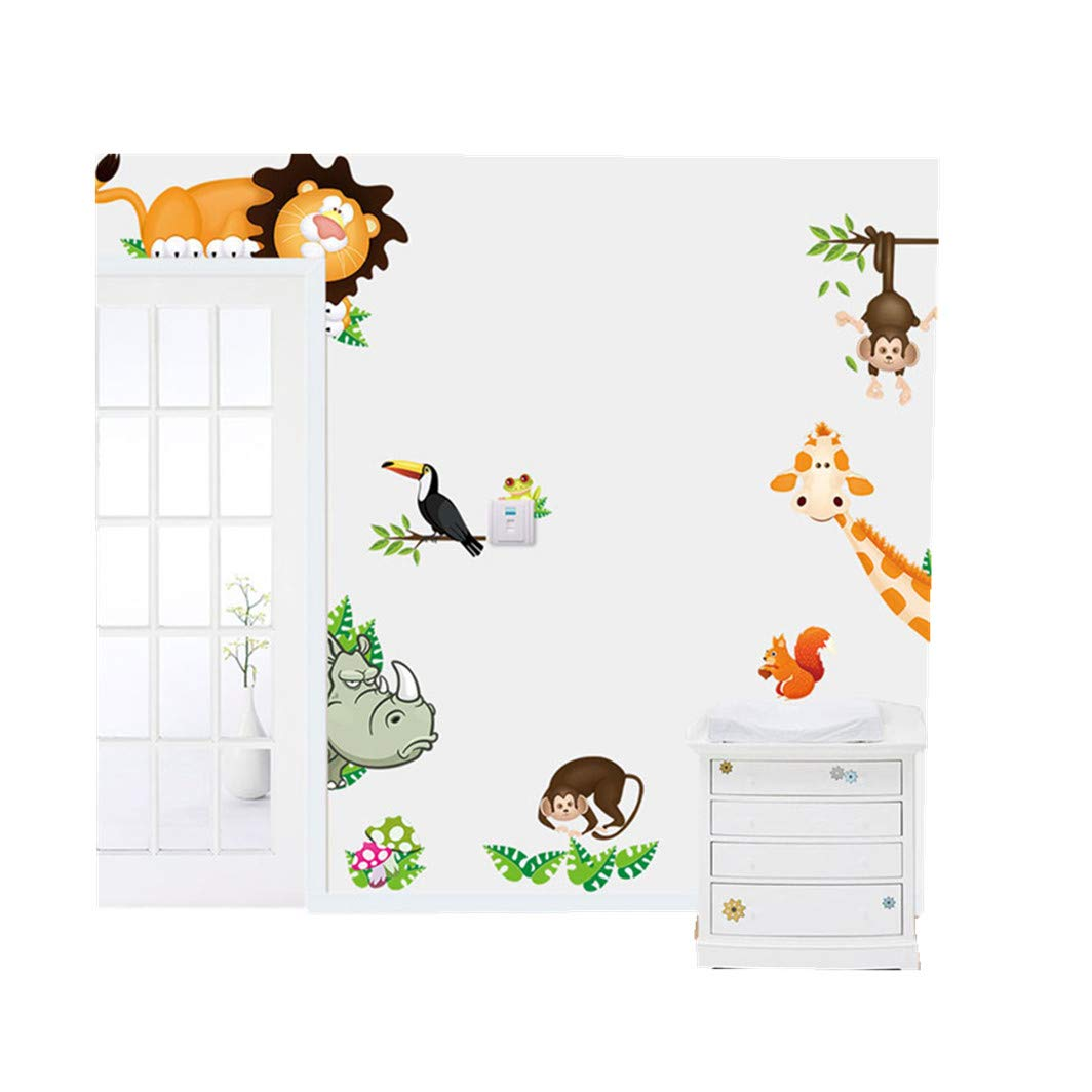 Woaills Mural Wall Sticker Decal, Jungle Animal Kids Baby Nursery Child Home Decor Removable Wallpaper (35.4''X11.8'')