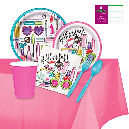 Spa Party Supplies - Paper Plates, Napkins, Cups, Forks, Spoons for 16 Guests by FAKKOS Design