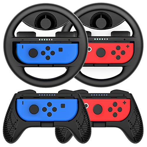 Grip for Nintendo Switch Controller – 4 Pack Racing Steering Wheel Switch Controller Game Grip Handle Kit Fit for…