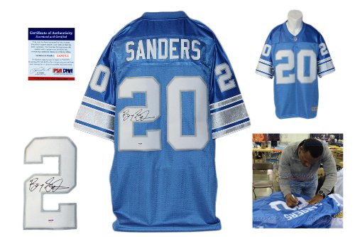 (Barry Sanders Signed Detroit Lions Reebok Premier Jersey - Beckett - Autographed w/ Photo)