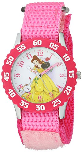 Disney Girl's 'Princess Belle' Quartz Stainless Steel and Nylon Casual Watch, Color:Pink (Model: WDS000190)