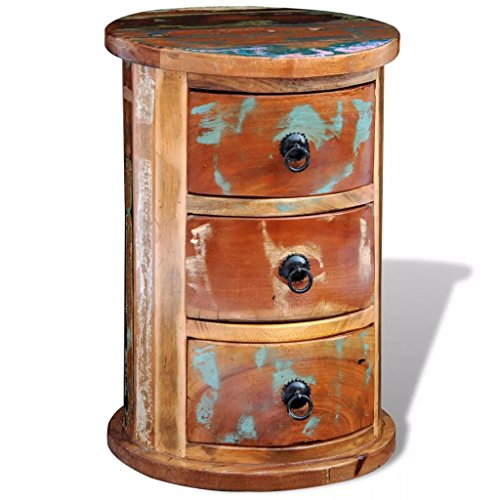 vidaXL Rustic Round Storage Cabinet 3 Drawer Reclaimed Solid Wood Retro Style Handmade from vidaXL