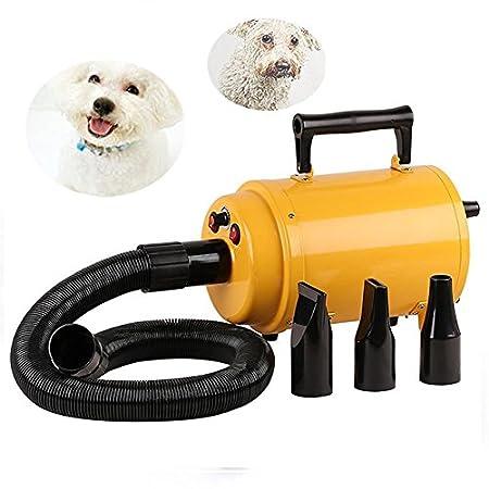 Pulseur pour chien Professionnel Sèche-Poils Toilettage Séchoir Pour Chiens Chats Animaux 2800W Jaune BAODE