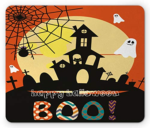 Lunarable Halloween Mouse Pad, Haunted House with Cat Tombstones Ghosts and Spider Webs Happy Halloween Boo, Standard Size Rectangle Non-Slip Rubber Mousepad, Multicolor