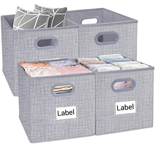 Homyfort Cube Storage Bins, Foldable Cloth Box Basket Organizer Container Drawers with Dual Plastic Handles for Closet, Bedroom, Toys,Set of 4 Light Grey 13x13x13