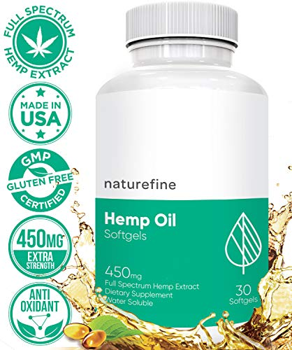 Hemp Oil Softgels Capsules :: Hemp Oil for Pain Relief :: Anxiety Relief :: Natural Anti Inflammatory Supplement :: Sleep Dietary Supplement :: Gluten-Free :: Naturefine Hemp