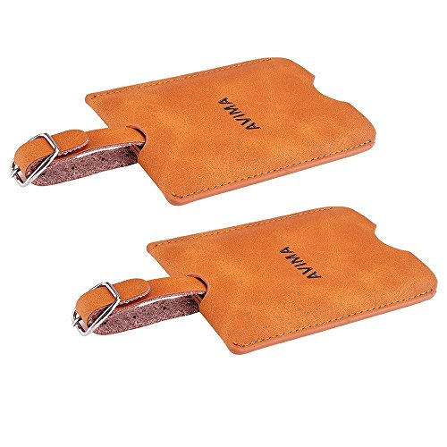 AVIMA Premium Handmade Deluxe Leather Travel Suitcase Luggage Bag Tags ID Card 2pcs Set (Brown)
