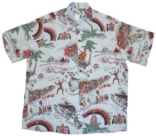 Kamehameha Shirt - Hawaii History Kamehameha Men's Hawaiian Aloha Vintage Retro Style Chirimen Crepe Rayon Dress Shirt in Pale Blue - 2X (Kamehameha Aloha Shirts)
