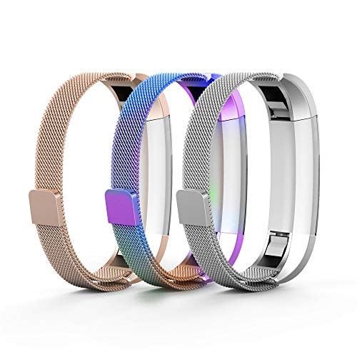 Tecson Metal Bands Compatible Fitbit Alta and Alta HR and Ace (Pack of 3), Champagne Gold, Colorful and Silver