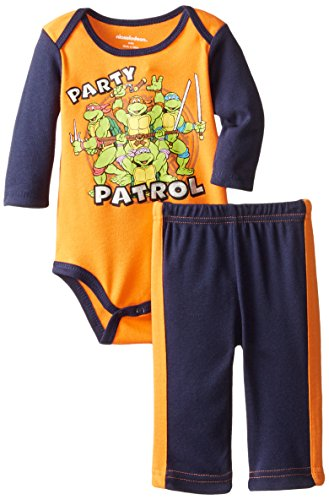Ninja Suits For Sale (T-Shirtnage Mutant Ninja Turtles Baby Boys' 2pc Bodysuit and Pant Set, Orange, 0-3 Months)