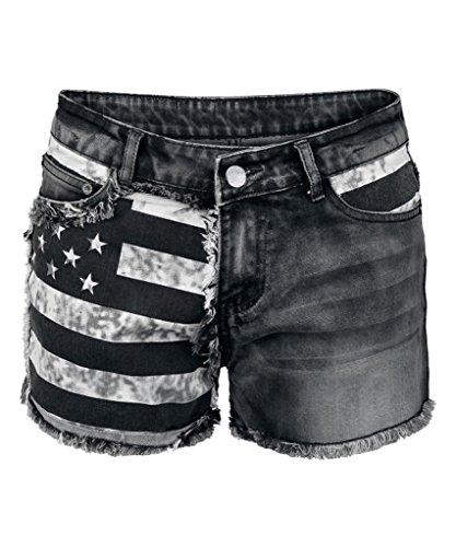 Dressation Womens Punk Style Flag Design Shorts Jeans Pants - Short Style Black
