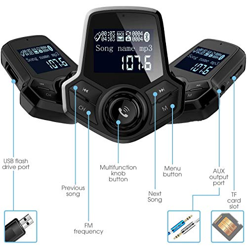 in-Car Bluetooth FM Transmitter Wireless Radio Adapter Hands-Free Car Kit with 1.44 Inches Display TF Card Mp3 Player Dual USB Ports AUX Input/Output Voltmeter Function for Smart Phones Audio Players by JFONG (Image #2)