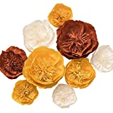 Ling's moment Giant Paper Flowers, 9 X Handmade Crepe Paper Flower, Fall Paper Peony Flowers Set, Paper Flowers Decorations for Wall Wedding Backdrop Bridal Shower Nursery