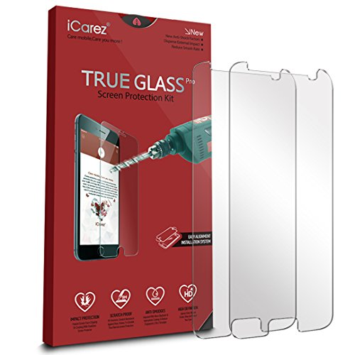 iCarez [Tempered Glass ] Screen Protector for Samsung Galaxy S7 (Case Friendly) Highest Quality Easy Install [ 2- Pack 0.33MM 9H 2.5D] with Lifetime Replacement Warranty - Retail Packaging