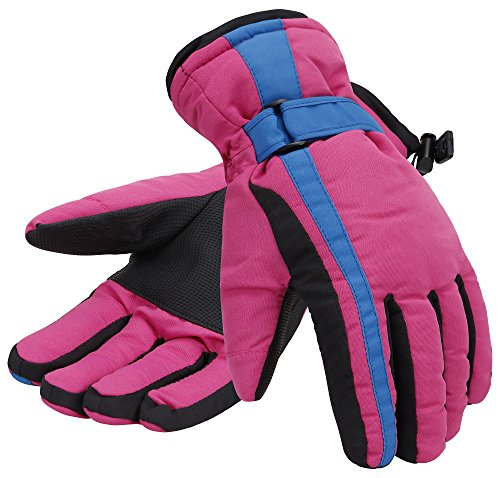 - Simplicity Women Thinsulate Insulated Lined Waterproof Ski Gloves,M,Pink Blue