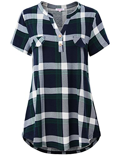 Misswor Plaid V Neck Blouse, Woman T Shirt Notch V Neck Short Sleeve Button UP T-Shirt Comfy Airy Stretchy Classic Plaid with Flap Patch Pocket Tops and Blouses Ladies Career (Short Sleeve Career Top Shirt)