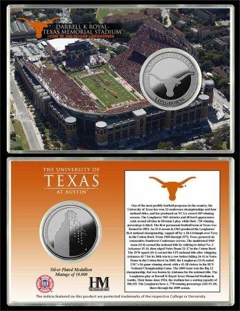 Highland Mint Texas Longhorns Darrell K Royal -Texas Memorial Stadium Silver Coin Card ()