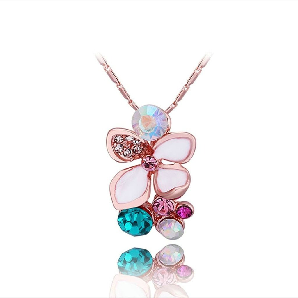 AMDXD Jewelry Rose Gold Plated Womens Necklace Blue AAA Crystal Flower Cluster Pendant