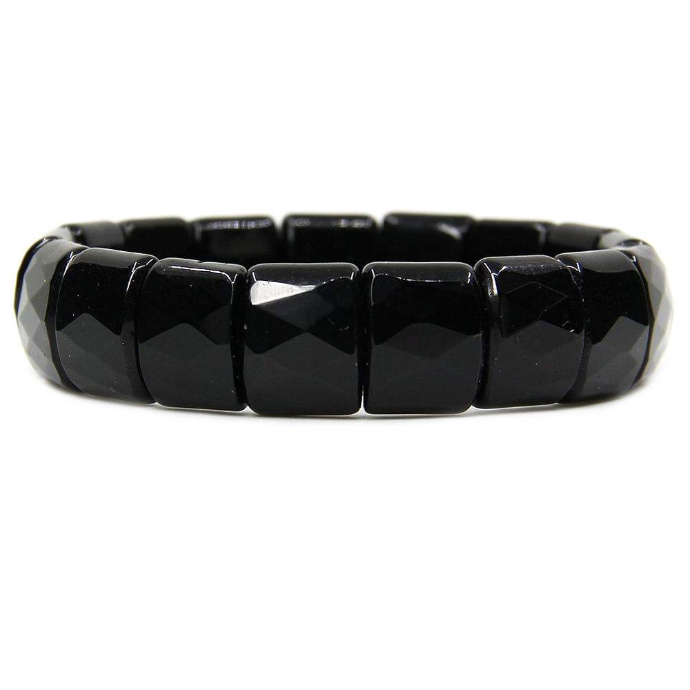 Natural Black Tourmaline Genuine Semi Precious Gemstone 15mm Square Grain Faceted Beaded Stretchable Bracelet 7''