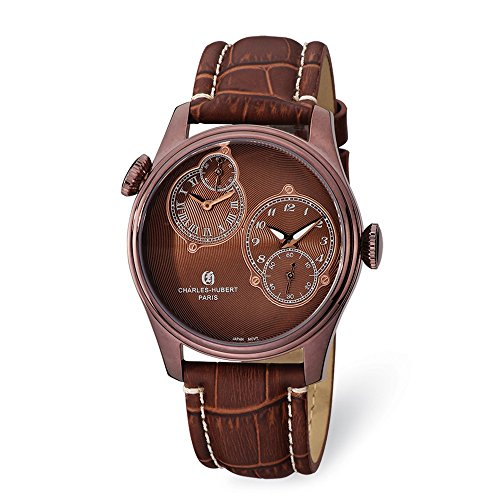 Mens Charles Hubert Stainless Steel Brown Dial Dual Time Watch XWA5489 Collection Brown Dial