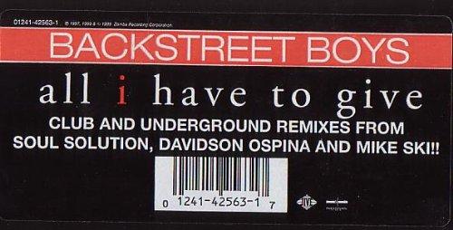 All I Have to Give [Vinyl] - Vinyl Records Backstreet Boys