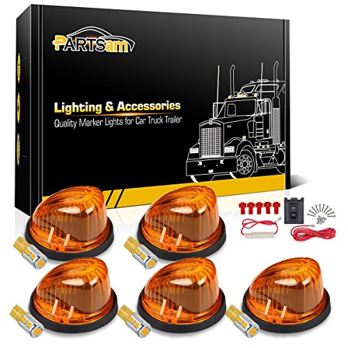 - Partsam Qty(5) 1313A Amber Roof Running Cab Marker Light with Super Bright 10-5730-SMD T10 Amber LED Bulb + Wiring Pack Compatible with Chevrolet/GMC C/K Series 1973-1987 Full Size Pickup Trucks