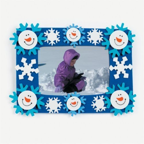 Fun Express Snowman and Snowflakes Photo Frame Magnet Craft Kits (Makes 12)