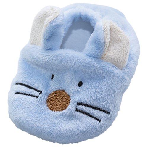 Babyschuhe Krabbelschuhe Fleece Maus blau 0 - 6 Monate