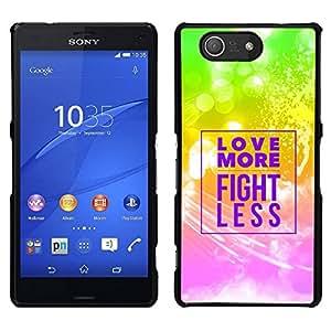 // PHONE CASE GIFT // Duro Estuche protector PC Cáscara Plástico Carcasa Funda Hard Protective Case for Sony Xperia Z3 Compact / BIBLE Love More - Fight Less /