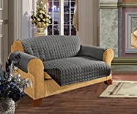 Elegant Comfort QUILTED FURNITURE PROTECTOR for Pet Dog Children Kids -2 TIES TO STOP SLIPPING OFF Treatment Microfiber As soft as Egyptian Cotton, Natural Sofa Gray/Black Love Seat