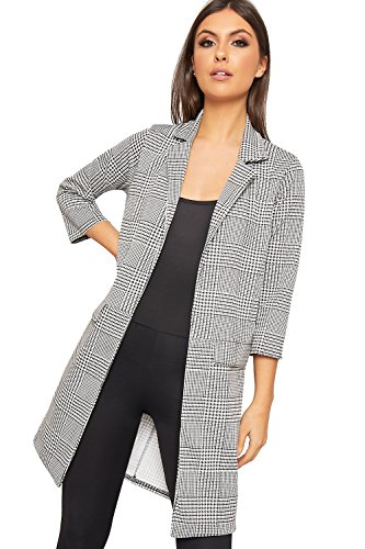 WearAll Women's Houndstooth Check Print Long Sleeve Open Jacket New Duster Coat - Black White - US 10 (UK 14) (White Houndstooth Check)