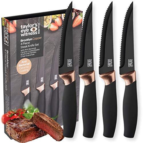 Taylors Eye Witness Brooklyn 4 Piece Steak Knife Set in Black and Copper