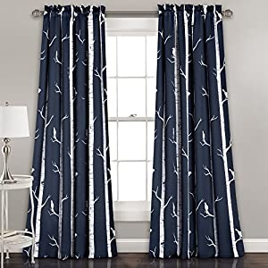 Lush Décor Bird On The Tree Curtains Room Darkening Window Panel Set for Living, Dining, Bedroom (Pair), 84″ L, Navy, 2 Count
