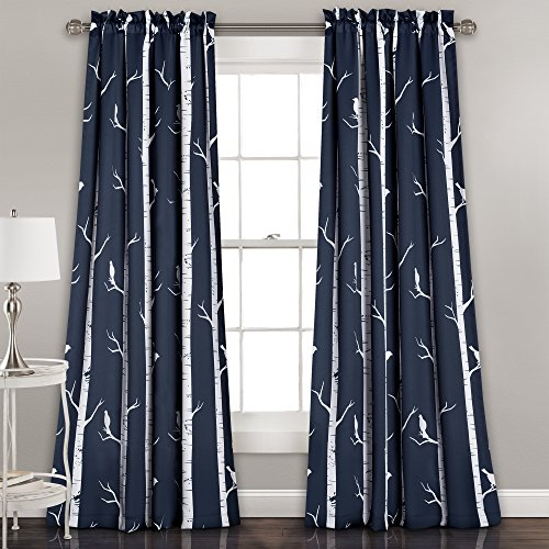 (Lush Decor Bird On The Tree Curtains Room Darkening Window Panel Set for Living, Dining, Bedroom (Pair), 84