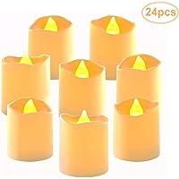 24 Realista Luces té LED de funcionamiento con pilas, sin llama luz bulbo parpadeo blanco cálido Velas, Contiene CR2032 pilas, para festivales decoración, bodas fiestas