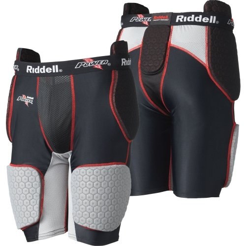 New College Football Uniforms (Riddell Power BK Girdle (Black/Carbon/Red, X-Large))