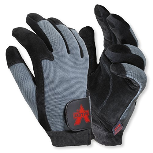 Valeo Industrial V425 Split Leather Full-Finger Anti-Vibe Gloves, VI4871, Pair, Black, Medium ()