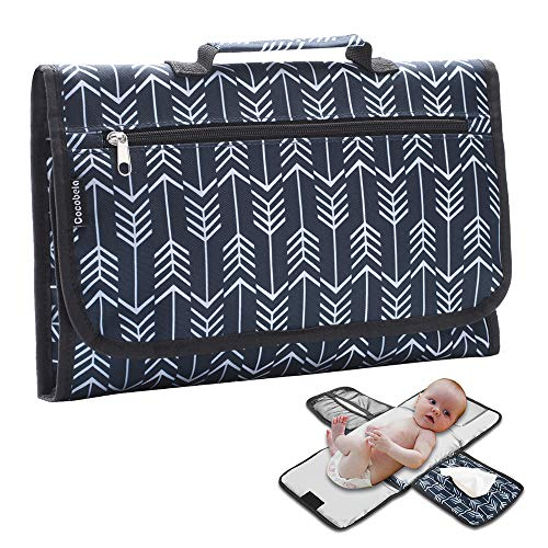 Outdoors Head - Baby Portable Diaper Changing Pad Travel Outdoor Waterproof Baby Changing Mat with Memory Foam Baby Head Pillow, Mesh Pockets for Diapers and Wipes Holder