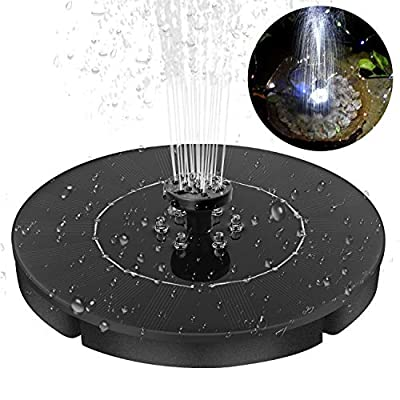 Yinuoday Solar Fountain for Bird Bath Pond Garden Decoration with 4 Different Spray Pattern Heads