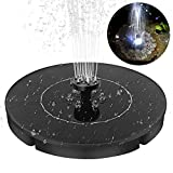 Solar Powered Fountain Pump with LED Night Light, 2.4W Solar Power Bird Bath Free Standing Water Pump Panel Kit, Outdoor Solar Fountain Submersible Watering Pump for Pond, Pool, Garden, Fish Tank
