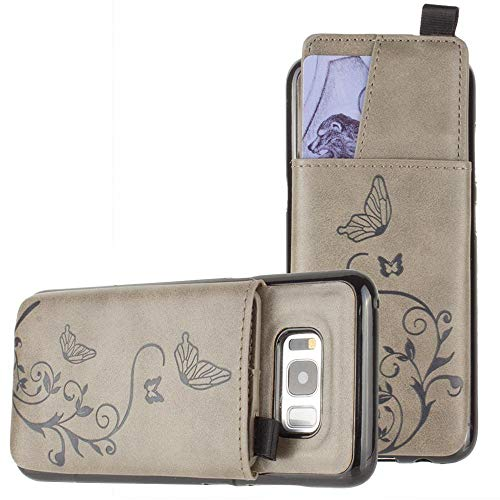 Galaxy S8 Wallet Case, Slim PU Leather with Matching Detachable Slide Out Card Slot Organizer [Butterfly Pull Out - Gray]