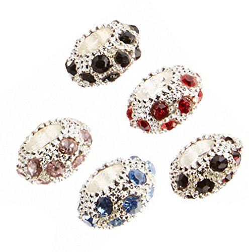 (Linpeng 110412- J 20 Piece Assorted Color Rhinestones Charms/Large Hole Beads,)
