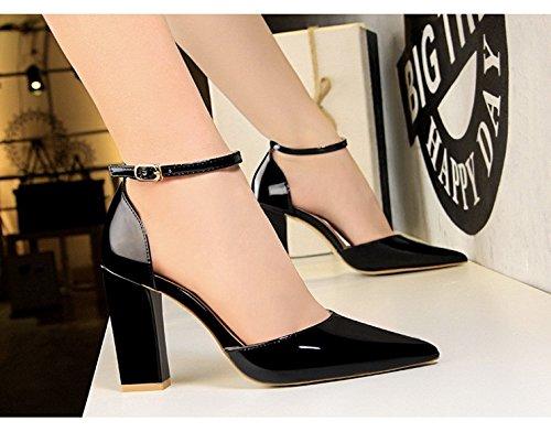 zapatos hebillas 10 superficial Black espesor De hebillas Sharp y altos XiaoGao desnuda laca SxICgqwnBv