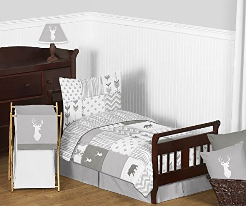 Sweet Jojo Designs 5-Piece Grey and White Woodsy Deer Boy or Girl Toddler Kid Children's Bedding Set s Comforter, Sham and Sheets