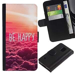Planetar® Modelo colorido cuero carpeta tirón caso cubierta piel Holster Funda protección Para SAMSUNG Galaxy S5 V / i9600 / SM-G900 ( Happy Sunset Clouds Nature Pink )