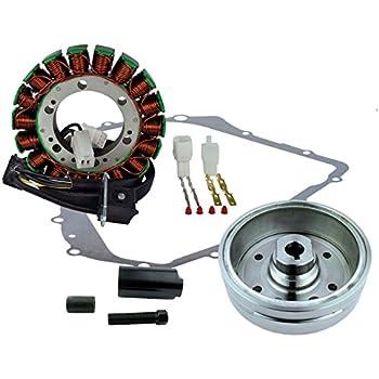 Stator Kit Improved Flywheel Flywheel Puller Crankcase Cover Gasket For Arctic Cat 400 Manual 2003-2008 // Suzuki LTF 400 Eiger 2002-2007