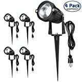 Warmoon Led Landscape Lights 5W Waterproof COB Led Spotlights with US 110V 3- Plug 6000K Daylight White Decorative Lamp Come with Spiked Stand for Patio, Garden, Along Driveway, Pathways (4 Packs)
