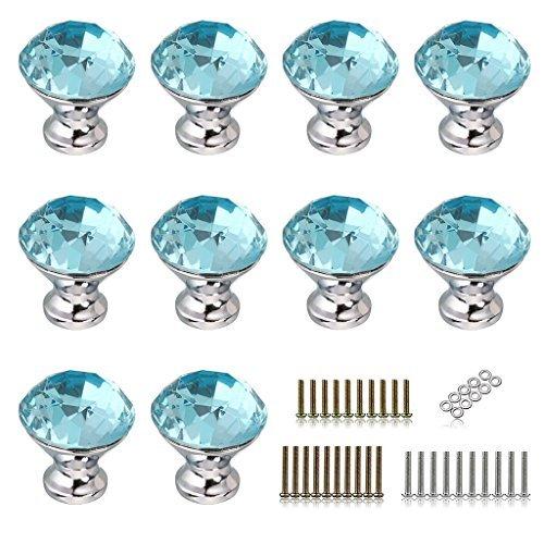BTSKY 10pcs 30mm Diamond Shape Crystal Glass Cabinet Knob clóset Cajón Pull Handle/Ideal para Alacena, Cocina y Baño...